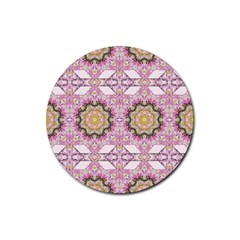 Floral Pattern Seamless Wallpaper Rubber Round Coaster (4 pack)