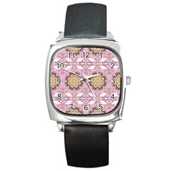Floral Pattern Seamless Wallpaper Square Metal Watch