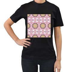 Floral Pattern Seamless Wallpaper Women s T-Shirt (Black) (Two Sided)