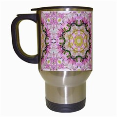 Floral Pattern Seamless Wallpaper Travel Mugs (White)