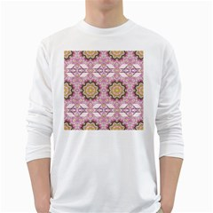 Floral Pattern Seamless Wallpaper White Long Sleeve T-Shirts
