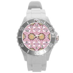 Floral Pattern Seamless Wallpaper Round Plastic Sport Watch (L)