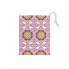 Floral Pattern Seamless Wallpaper Drawstring Pouches (Small)
