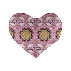 Floral Pattern Seamless Wallpaper Standard 16  Premium Flano Heart Shape Cushions