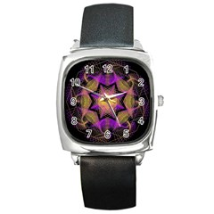 Pattern Design Geometric Decoration Square Metal Watch