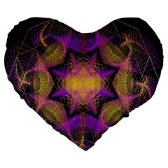 Pattern Design Geometric Decoration Large 19  Premium Heart Shape Cushions