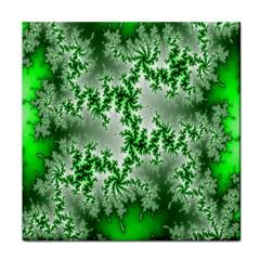 Green Fractal Background Tile Coasters