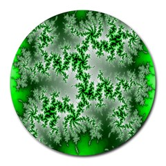 Green Fractal Background Round Mousepads