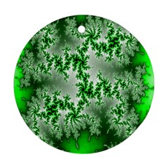 Green Fractal Background Ornament (Round)