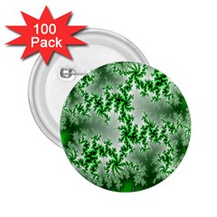 Green Fractal Background 2.25  Buttons (100 pack)