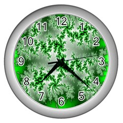 Green Fractal Background Wall Clocks (silver)