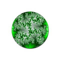 Green Fractal Background Rubber Coaster (round)