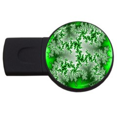 Green Fractal Background USB Flash Drive Round (1 GB)
