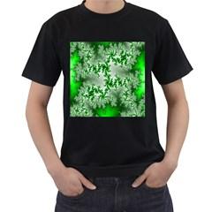 Green Fractal Background Men s T Shirt (black) (two Sided)