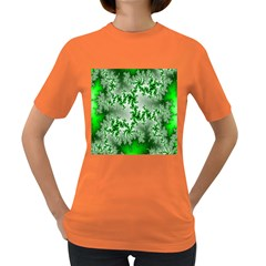 Green Fractal Background Women s Dark T Shirt