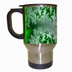 Green Fractal Background Travel Mugs (White)