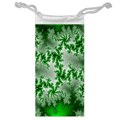 Green Fractal Background Jewelry Bag