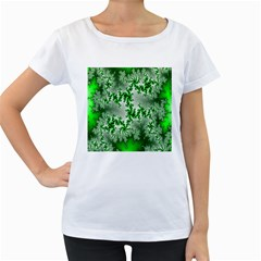 Green Fractal Background Women s Loose Fit T Shirt (white)