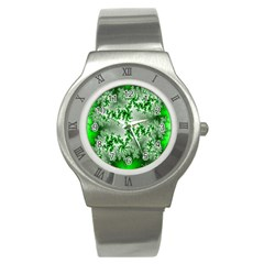Green Fractal Background Stainless Steel Watch