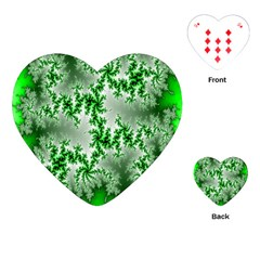 Green Fractal Background Playing Cards (Heart)