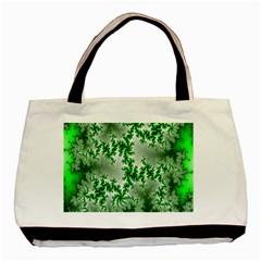 Green Fractal Background Basic Tote Bag