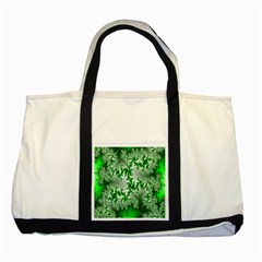 Green Fractal Background Two Tone Tote Bag