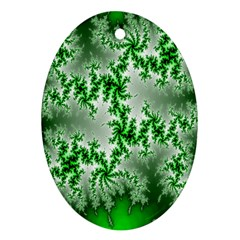 Green Fractal Background Oval Ornament (Two Sides)
