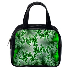 Green Fractal Background Classic Handbags (One Side)