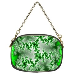 Green Fractal Background Chain Purses (one Side)