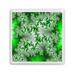 Green Fractal Background Memory Card Reader (square)
