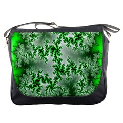 Green Fractal Background Messenger Bags
