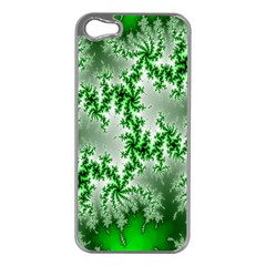 Green Fractal Background Apple iPhone 5 Case (Silver)