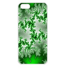 Green Fractal Background Apple iPhone 5 Seamless Case (White)
