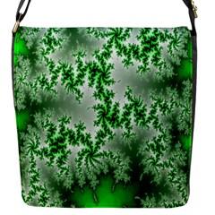 Green Fractal Background Flap Messenger Bag (S)