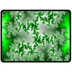 Green Fractal Background Double Sided Fleece Blanket (large)