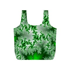 Green Fractal Background Full Print Recycle Bags (S)