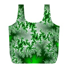 Green Fractal Background Full Print Recycle Bags (L)