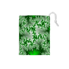 Green Fractal Background Drawstring Pouches (Small)