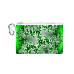 Green Fractal Background Canvas Cosmetic Bag (S)
