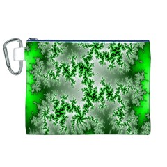 Green Fractal Background Canvas Cosmetic Bag (XL)