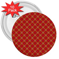 Abstract Seamless Floral Pattern 3  Buttons (10 pack)