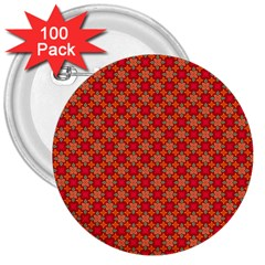 Abstract Seamless Floral Pattern 3  Buttons (100 Pack)