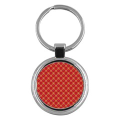 Abstract Seamless Floral Pattern Key Chains (Round)