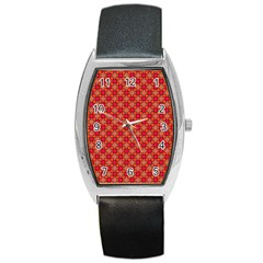 Abstract Seamless Floral Pattern Barrel Style Metal Watch