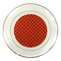 Abstract Seamless Floral Pattern Porcelain Plates