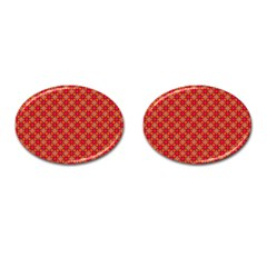 Abstract Seamless Floral Pattern Cufflinks (Oval)