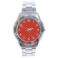 Abstract Seamless Floral Pattern Stainless Steel Analogue Watch