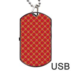 Abstract Seamless Floral Pattern Dog Tag USB Flash (One Side)