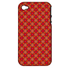 Abstract Seamless Floral Pattern Apple Iphone 4/4s Hardshell Case (pc+silicone)