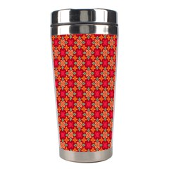 Abstract Seamless Floral Pattern Stainless Steel Travel Tumblers
